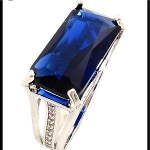Savvy Cie, Rhodium Plated Created Sapphire CZ Ring